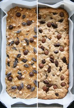 Oatmeal Peanut Butter Cookie Bars packed with THREE kinds of peanut butter for true peanut butter fanatics!
