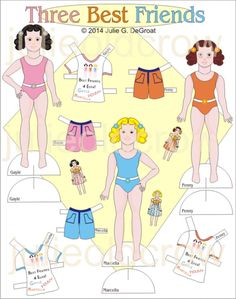 Paperdolls!  Three Best Friends and Lots of Outfits for these Paper Dolls