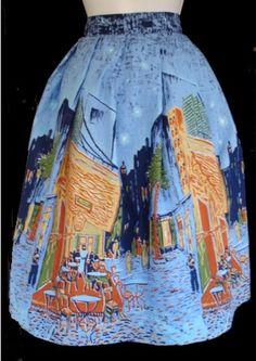 1950's novelty print border skirt Van Gogh cafe theme.