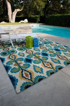 Enzo Outdoor Rug - Ivory/Blue