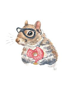 Original Squirrel Watercolour Painting, Nerd Squirrel, Sprinkle Donut, Hipster Glasses, 8x10 Painting