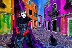 burano, burano island, carnival, celebration, colorful, composite, costume, europe, horizontal, italy, mask, party, venice, photo