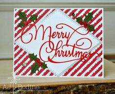GINA MARIE DESIGN DIES - STITCHED DIAMOND - MERRY CHRISTMAS - HOLLY