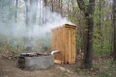 I recently built this smoke house at my cabin. I have smoked some pork, beef and chicken. Did jerky twice and it was great. Plan to do some jerky this weekend. I want to build something like this. Smoke House Plans, Smoke House Diy, Diy Smoker, Homemade Smoker, Outdoor Oven, Outdoor Cooking, Outdoor Smoker, Backyard Smokers, Smoke Grill