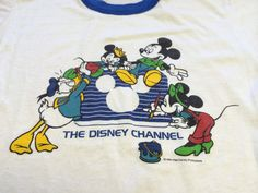Vintage MICKEY MOUSE Tshirt 1984/ RARE Original Disney Channel Walt Disney Productions Ringer T-shirt/ Minnie Mouse Donald Duck Cartoon Tee