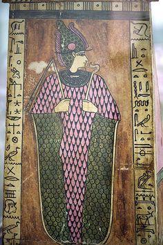 Osiris on Sarcophagus lid of Teuris (Allard Pierson museum Amsterdam, Egypt, Greek/Roman time) | by koopmanrob
