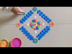 Simple and Easy Innovative Rangoli Designs - Step By Step - Art & Craft Ideas Rangoli Designs Latest, Rangoli Designs Diwali, Diwali Rangoli, Arabic Mehndi Designs, Indian Rangoli, Small Rangoli Design, Colorful Rangoli Designs, Beautiful Rangoli Designs, Rangoli Patterns