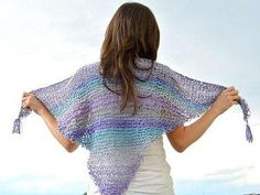 Lace Knit Shawlette - Lace knitting patterns are great summer knits and the Lace Knit Shawlette pattern is no exception. This super easy quick knit pattern makes a great wrap on summer evening or a swimsuit coverup for long sunny days on the beach. Created with a series of yarn over and knit stitches with worsted weight yarn, this free knitting pattern is a great for beginners, although it is fun to create no matter what your skill level is.