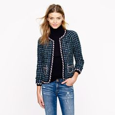"J Crew has a whole collection of ""lady jackets"", which are very reminiscent of Chanel, this one in dual tweed.  They look great paired with jeans."
