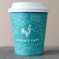 to-go coffee cup from Loosie's Cafe, Brooklyn.