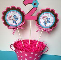 3 Sheriff Callie Birthday fiesta centro de mesa palillos color de rosa, marrón y…