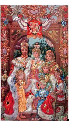 "Romanov Family Portrait from the FOX film ""Anastasia"". Disney Animation, Disney Pixar, Walt Disney, Disney And Dreamworks, Disney Fan Art, Disney Movies, Princesa Anastasia, Disney Anastasia, Anastasia Movie"