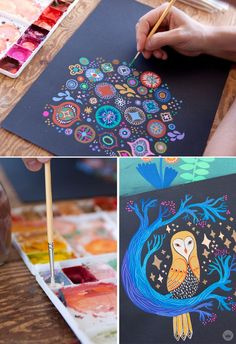 Mirna Stubbs Studio Ink collection | vibrant guache on black paper | thinkmakeshareblo...