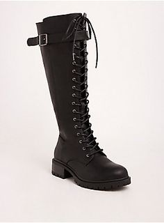 Outfit Ideas Discover Lace Up Knee-High Combat Boots (Wide Width & Wide Calf) Cowboy Boot Outfits, Dresses With Cowboy Boots, Thigh High Boots Dress, Knee High Boots, Style Converse, Converse Outfits, Brown Leather Shoes, Wide Calf Boots, Fashion Heels