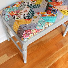 Upholstered Bench, Handmade Quilted Chevron Patchwork Upholstery