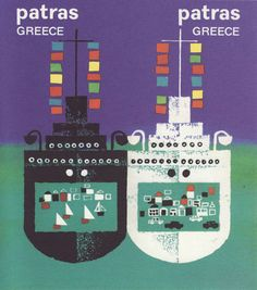 Patras, Greece by Michalis Katzourakis 1957 Patras, Greece Tourism, Greece Travel, Old Posters, Tourism Poster, Pub, Commercial Art, My Land, Vintage Travel Posters