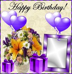 Kimi template created by Happy Birthday Woman, Birthday Wishes In Heaven, Advance Happy Birthday, Happy Birthday Friend, Birthday Wishes For Myself, Birthday Photo Frame, Happy Birthday Frame, Happy Birthday Pictures, Birthday Frames