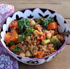 Autumn is the perfect time of year to eat warming foods. This is a #vegan #veggie Stew with #freekeh & Chick-Peas.