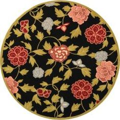 @Overstock - An elegant floral pattern highlights this hand-hooked wool rug. This floor rug has a black background and displays stunning panel colors of olive green, red, pink and blue.http://www.overstock.com/Home-Garden/Hand-hooked-Garden-Black-Wool-Rug-56-Round/5221720/product.html?CID=214117 $102.59