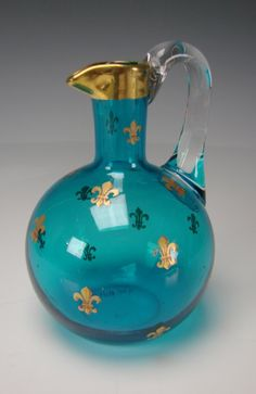 Antique French Baccarat Glass Pitcher Jug Gilt Blue c1900.