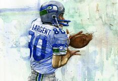 This is a watercolor illustration of Steve Largent from the Seatlle Seahawks. Seahawks Game Day, Seahawks Football, Football Love, Football Art, Football Memes, Seattle Seahawks, Superbowl Champions, Sports Baby, Best Fan