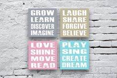 Wonderful Keep Sake Perfect for a personalized Baby Girl or Boy Room, Nursery or Play Room.  Set of 4 inspirational canvas Prints THIS LISTING IS FOR