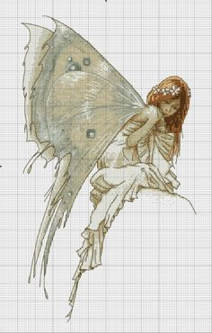 Cross-stitch Fairy... no color chart available, just use the pattern chart as your color guide.. or choose your own colors...   Gallery.ru / Photo # 57 - Angels and Fairies - uiglon