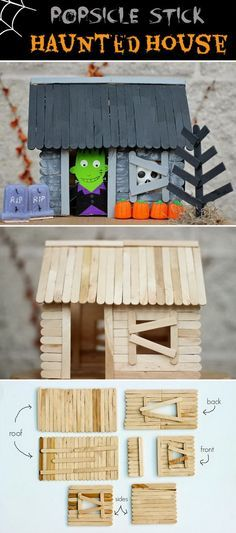 Popsicle Stick Haunted House for Halloween.