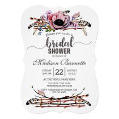 #rustic - #Boho Chic Blush Floral Bridal Shower Invitation