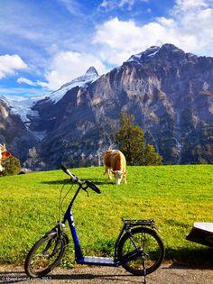 Trottie bike in Swiss Alps