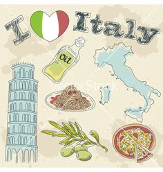 Italy travel grunge card vector - by Yuzach on VectorStock®