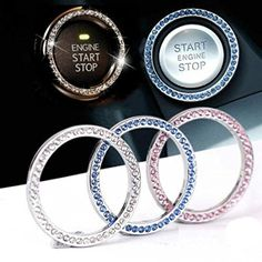 Engine Ignition Key Start Button Rhinestone Ring, Mini-Factory Bling Crystal Interior Decoration for Car / Suv / Truck (Silver)