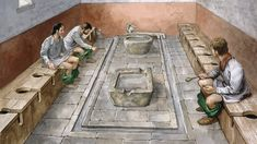 Reconstruction drawing of the communal latrines at Housesteads Roman fort (Vercovicium) on Hadrian's Wall. This site is now in the care of English Heritage Ancient Rome, Ancient History, Ancient China, Rome Antique, Roman Britain, Empire Romain, Roman Architecture, English Heritage, Heritage Site