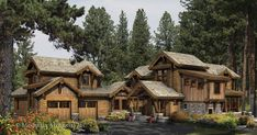 """Love this look. Even the garage is """"log cabin"""" style and looks like the upper portion could be furnished? A guest lodging perhaps."""
