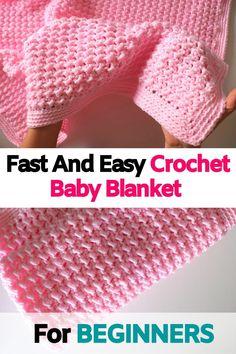 Crochet Baby Blanket Free Pattern, Crochet Baby Blanket Beginner, Beginner Crochet Projects, Baby Knitting, Easy Baby Blanket, Easy Crochet Baby Blankets, Simple Crochet Blanket, Free Easy Crochet Patterns, Knitted Baby