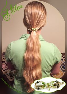 "I love the ""Flitter"" dragonfly Flexi Clip! Can't go wrong with sparkly green and gold! She glows in Lilla Rose! Long blonde hair. Long hairstyles."