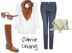 white top with Baby Phat skinnies and printed scarf and camel colored Buffalo boots