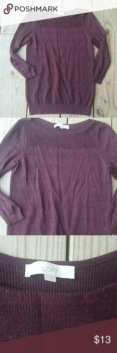 Ann Taylor LOFT knit sweater 3/4 sleeve, knit, maroon, wool blend, size s LOFT Sweaters