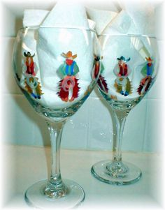 Hand Painted Cowboy and Cowgirl Stemware-hand painted, wines, glasses, western, cowboys, cowgirls, horses, pilsners, beer, red wines glasses, white wine glasses,