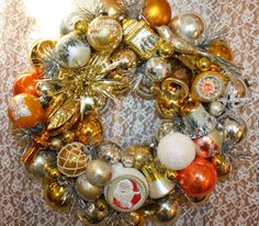 Vintage Ornament Wreath Gold Silver And Orange by TheGlitterboxLC