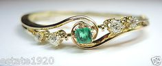 ANTIQUE ART DECO BRACELET CIRCA ~ 1920'S NATURAL EMERALD ~ SQUARE STEP CUT COUNTRY OF ORIGIN ~ COLOMBIA SIZE ~ .75CT 4 EUROPEAN CUT DIAMONDS ~ 1.10CT T.W. COLOR ~ G - H CLARITY ~ SI 1 METAL ~ 18K GREEN SOLID GOLD