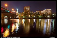 Picture/Photo: Night skyline and bridge over Connecticut River ...