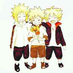 Naruto, Minato, Boruto, young, childhood, cute, flower; Naruto