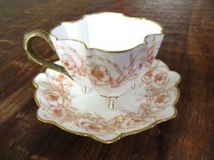 Antique T&V Limoges Ovington Bros. QUATREFOIL Footed Demitasse Tea Cup & Saucer