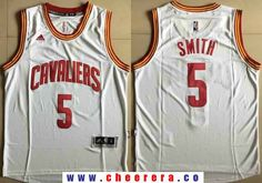 Men s Cleveland Cavaliers  5 J.R. Smith White Stitched NBA Adidas Revolution  30 Swingman Jersey Nba 330cd8aea