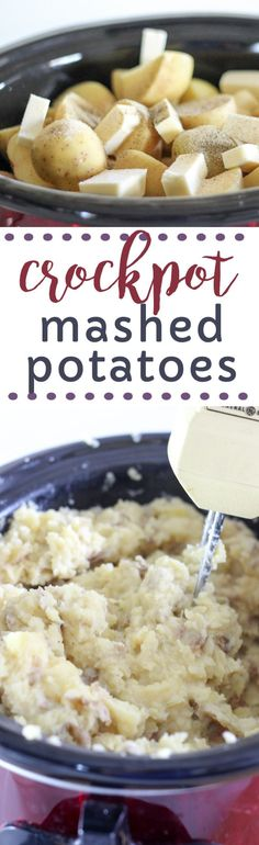 How to make mashed potatoes in the crockpot using electric mixer.  This recipe could not be easier using butter, milk, gold potatoes, pepper, garlic powder and salt.  Make ahead and freeze for later or the perfect side dish for a big gathering like Thanksgiving or Christmas!