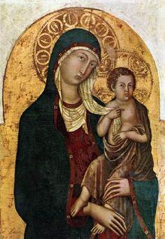 NICCOLÒ DI SEGNA Virgin with Child  c. 1336 Panel, 102 x 67 cm Museo Diocesano, Cortona  Niccolò di Segna was the son of Segna di Buonaventura, a Sienese painter. This panel originates from the old Church of St Margaret in Cortona. Formerly it was attributed to Duccio.