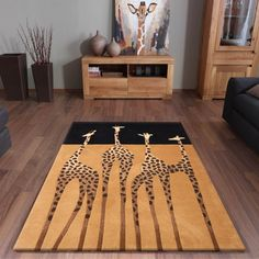 Kalahari Giraffe Rugs in Gold and Black buy online from the rug seller uk African Interior, Modern Rugs, My Living Room, Soft Furnishings, Home Accessories, Interior Decorating, Interior Design, Decorating Ideas, Room Decor