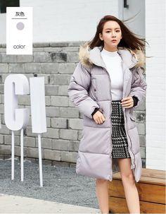 51182857ca41 CW52748 Korean style loose cotton coat thick long down coat for women Long Down  Coat