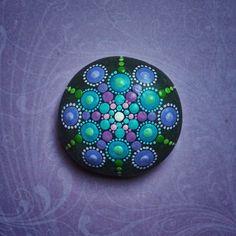 Jewel Drop Mandala Painted Stone Berry Heaven by ElspethMcLean